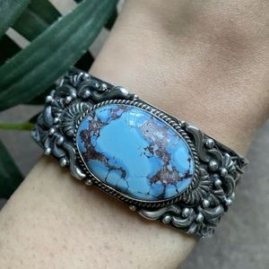 Jewelry - S.S.Golden Hill Turquoise Cuff Bracelet. T.O.White